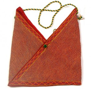 Red Embroidered Shoulder Bag