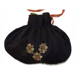 Black Silk Mirror-Work Evening Bag