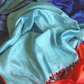 Turquoise Blue Silk Scarf