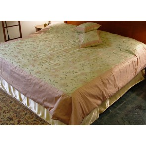 Emerald Green and Wheat Dupioni Silk Duvet Cover
