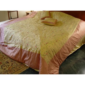Gold and Pale Violet Red Dupioni Silk Duvet Cover