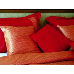 Red and Gold Silk Sari Duvet Cover