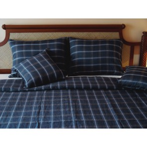 Dark Blue Plaid Linen Duvet Cover
