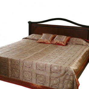 Red and Gold Zari Bedspread
