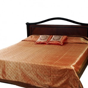 Salmon and Gold Silk Bedspread