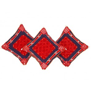 Red and Navy Blue Cotton Throw Pillows