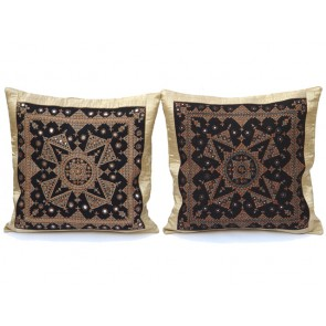 Khakhi and Black Throw Pillows