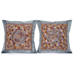 Sapphire Blue and Camel Throw Pillows