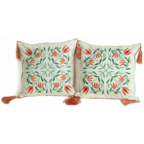Peach Puff and White Throw Pillows