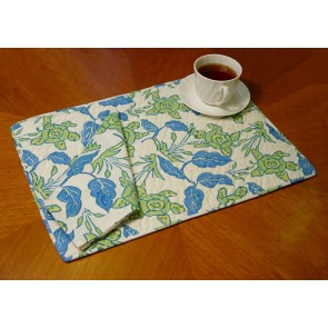 White and Blue Quilted Place Mats