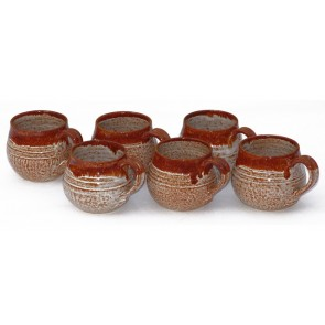 Brown and White Hand- Made Ceramic Coffee Mugs