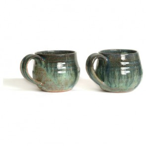 Green Handmade Ceramic Coffee Mugs
