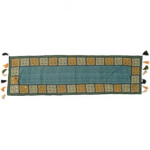 Cornflower Blue Beaded Cotton Table Runner