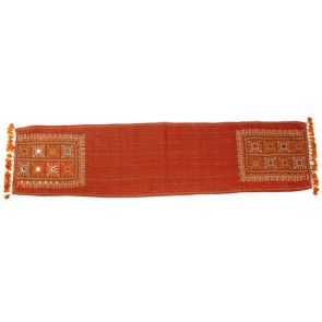 Brick Red Beaded Cotton Runner