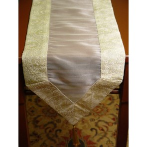 White and Gold Tissue Table Runner