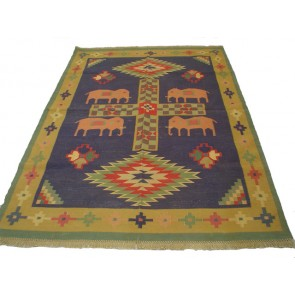 Elephants Dhurrie Rug